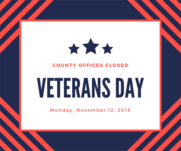 County Offices Closed for Veterans Day