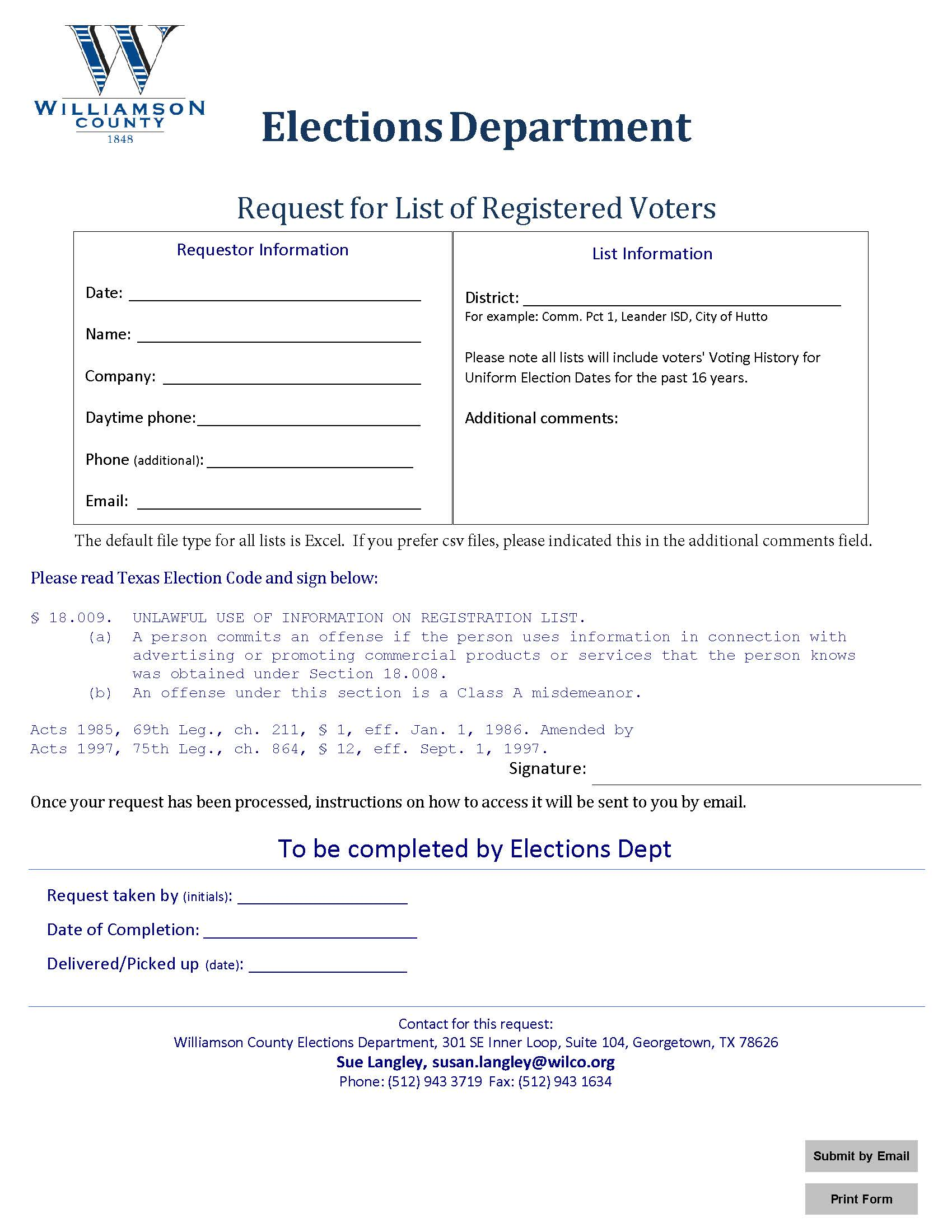 Image of the Request for List of Registered Voters form