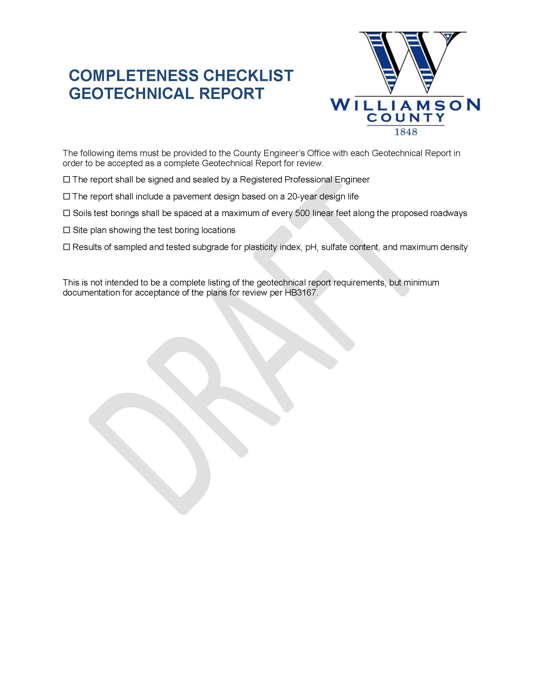Application for Geotechnical Report